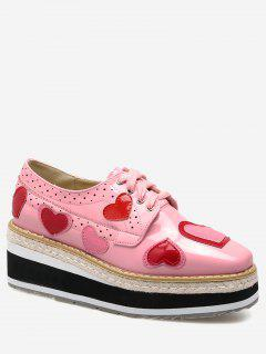 Hollow Out Heart Tie Up Wedge Shoes - Pink 40