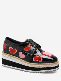 Hollow Out Heart Tie Up Wedge Shoes - Black 38