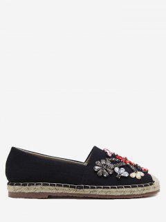 Rhinestone Espadrille Slip On Flat Shoes - Black 40