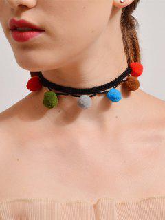 Fuzzy Ball Crochet Choker Necklace - Black