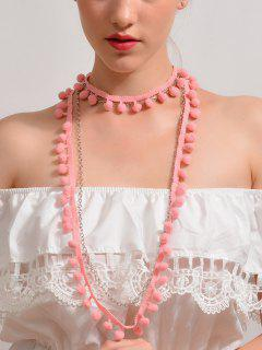 Bohemian Fuzzy Ball Charm Choker Necklace - Pink
