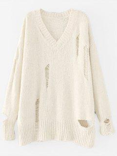 V Neck Drop Shoulder Cut Out Sweater - Beige M