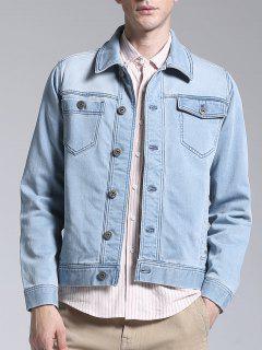 Slim Fit Button Up Denim Jacket - Light Blue Xl
