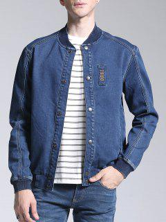 Patch Deisgn Stand Neck Denim Jacket - Blue L