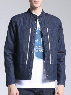 Corduroy Lining Patch Design Denim Jacket - Blue 3xl