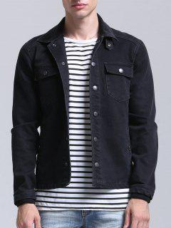 Pockets Button Down Denim Jacket - Black Xl