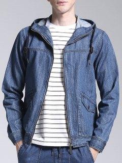 Hooded Zip Up Denim Jacket - Denim Blue 3xl