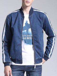 Striped Zip Up Denim Jacket - Blue L