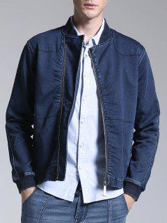 Stand Neck Zippered Denim Jacket - Blue Xl