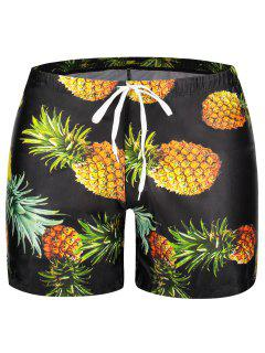 Pocket Pineapple Print Swim Trunks - Black M