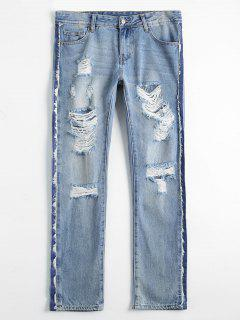 Bleach Wash Destroyed Tapered Jeans - Denim Blue 24