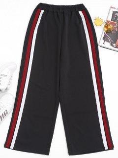 Slit Side Stripe Pants - Red M