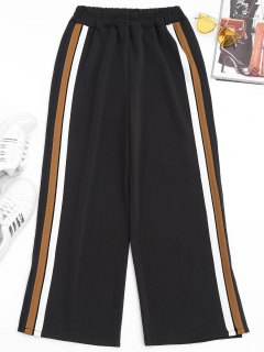 Slit Side Stripe Pants - Light Brown S