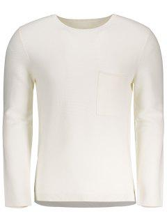Front Pocket Crew Neck Sweater - White M