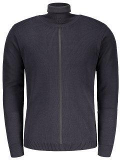 Ribbed Turtleneck Sweater - Cadetblue M