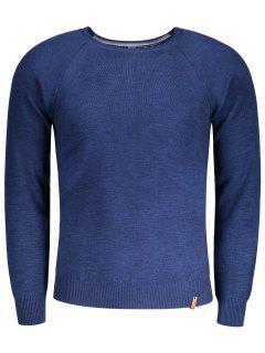 Raglan Sleeve Mens Sweater - Blue S