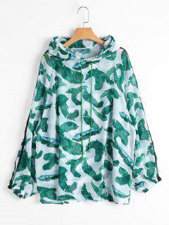 Sun Proof Drawstring Tropical Print Hoodie - Green