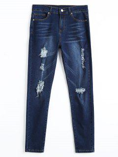 Ripped Skinny Pencil Jeans - Denim Blue M