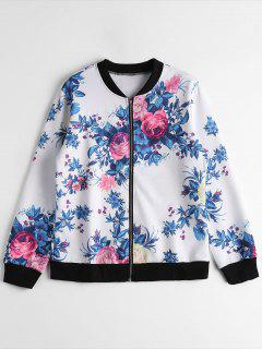 Chaqueta Piloto Floral Zip Up - Blanco M
