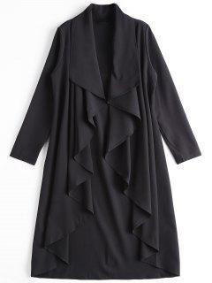Asymmetrical Open Front Trench Coat - Black 2xl