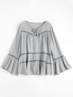 Flare Sleeve Tie Neck Blouse - Gray Xl