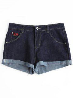 Rolled Cuff Letter Embroidered Denim Shorts - Denim Blue 29