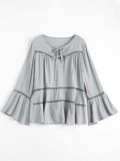 Flare Sleeve Tie Neck Blouse - Gray S
