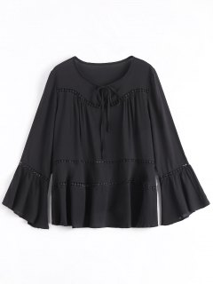 Flare Sleeve Tie Neck Blouse - Black S