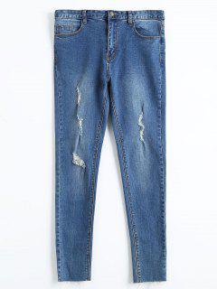 Skinny Fringed Ripped Pencil Jeans - Denim Blue 30