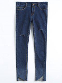 Skinny Cutout High Low Pencil Jeans - Denim Blue 30