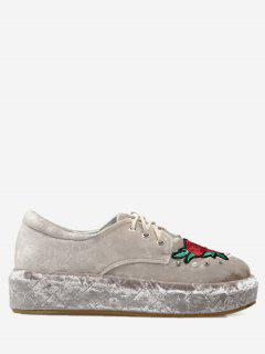 Faux Pearls Embroidery Velvet Platform Shoes - Apricot 39