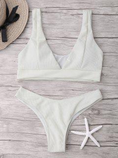 Ribbed Plong Thong Bikini Set - Beige (weis) S