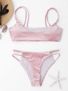 Dual Straps Velvet Bikini Set - Pink M