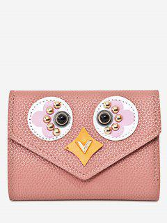 Studded Envelope Textured Leather Small Wallet - Pink