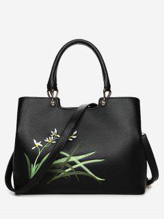 Faux Leather Embroidered Handbag With Strap - Black