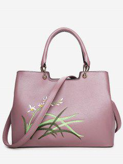 Faux Leather Embroidered Handbag With Strap - Pink
