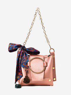 Metal Ring Chain Scarf Shoulder Bag - Pink