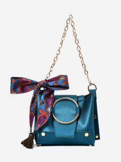 Metal Ring Chain Scarf Shoulder Bag - Blue