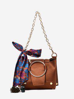 Metal Ring Chain Scarf Shoulder Bag - Brown