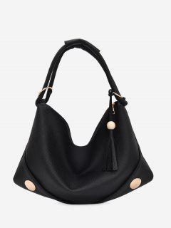 PU Leather Zipper Tassel Shoulder Bag - Black