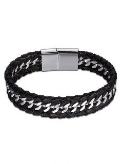 Cool Faux Leather Braid Bracelet - Black