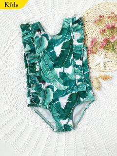 Ruffles Palm Leaf Print Kids Swimwear - Green 7t