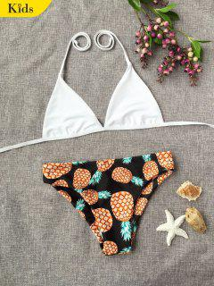 Halter Pineapple Print Kid Bikini - White 7t