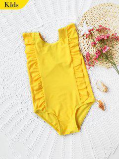 Kids Ruffles Low Back Swimwear - Yellow 5t
