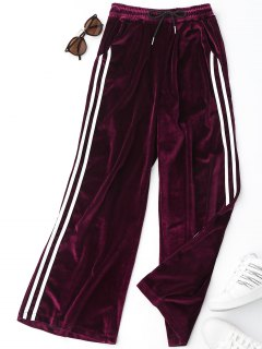 Side Stripe Velvet Pants - Purplish Red