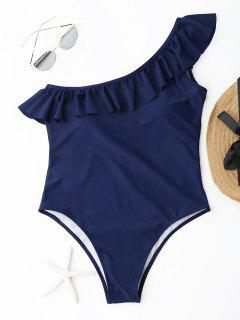 Ruffle One Shoulder Swimsuit - Deep Blue M