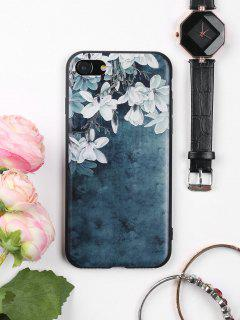 Flowers Pattern Soft Phone Case For Iphone - Ink Blue For Iphone 7
