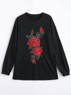 Mini Flower Embroidered Sweatshirt Dress - Black L
