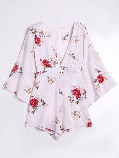 Low Cut Floral Print Romper - White M