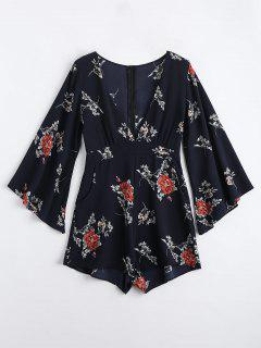 Low Cut Floral Print Romper - Deep Blue M